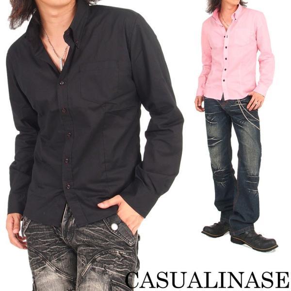 メンズシャツ ボタンダウン ブロード無地 デュエボットーニ ドレスシャツ 長袖 シャツ カジュアル メンズファッション 通販 tool-power