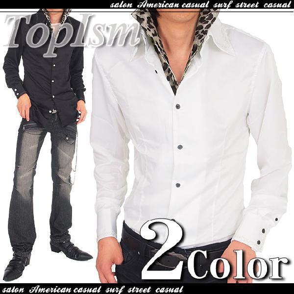 シャツ メンズ サテンシャツ ボタンダウン デュエボットー二 白シャツ ドレスシャツ トップス|topism