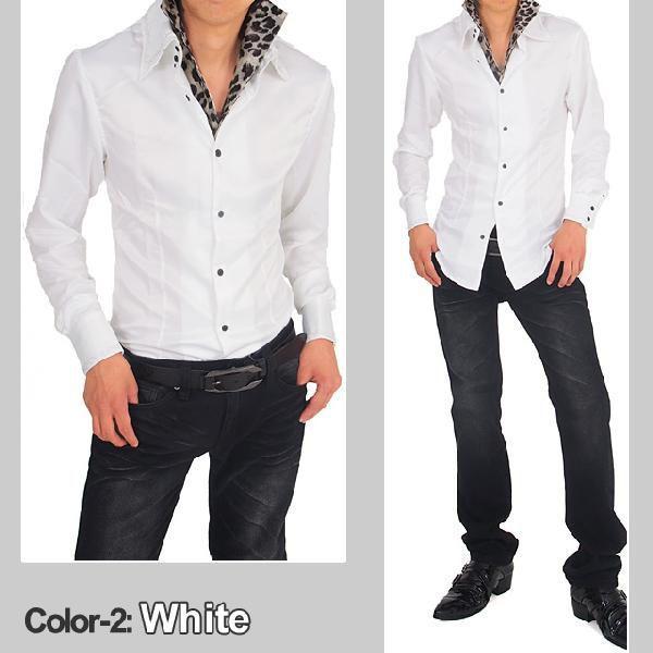 シャツ メンズ サテンシャツ ボタンダウン デュエボットー二 白シャツ ドレスシャツ トップス|topism|05