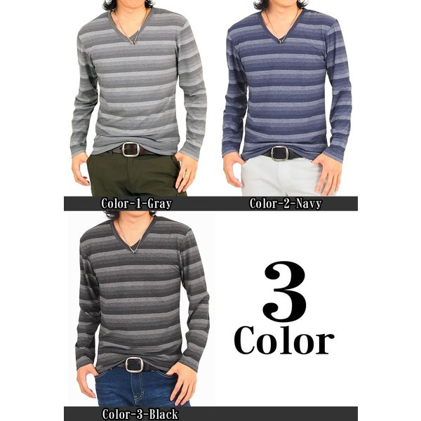ロングTシャツ メンズ ロンT ボーダー グラデーション Vネック 長袖 カットソー トップス|topism|02