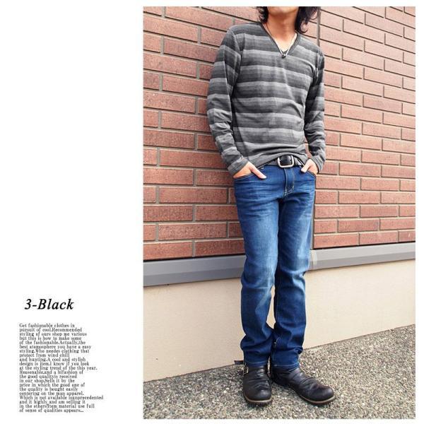 ロングTシャツ メンズ ロンT ボーダー グラデーション Vネック 長袖 カットソー トップス|topism|06