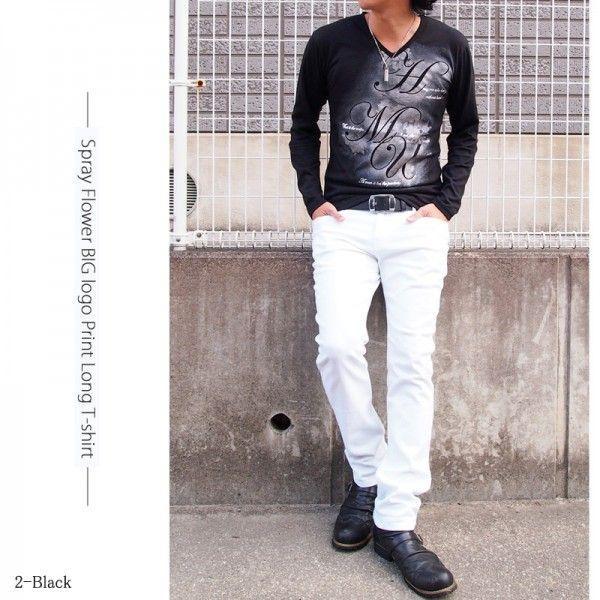 メンズロングTシャツ 長袖 Vネック ティーシャツ タイト フラワープリント ロゴプリント トップス topism 05