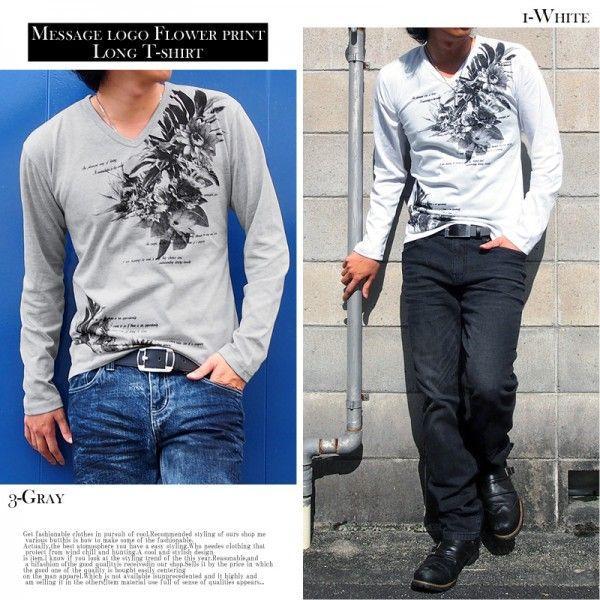 メンズロングTシャツ 長袖 Vネック ティーシャツ タイト フラワープリント 箔プリント|topism|05