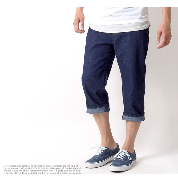 クロップドパンツ メンズ ハーフパンツ ボトムス デニム ショートパンツ ジーンズ ストレッチ ストレート ユーズド加工 7分丈 夏 伸縮 クライミングパンツ|topism|16