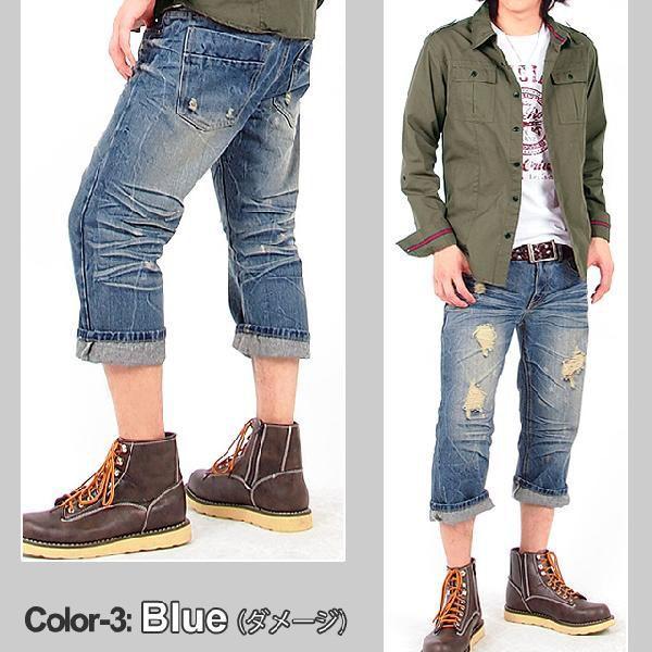 クロップドパンツ メンズ ハーフパンツ ショートパンツ USED加工 ダメージ パンツ ショート 短パン メンズファッション 通販|topism|05