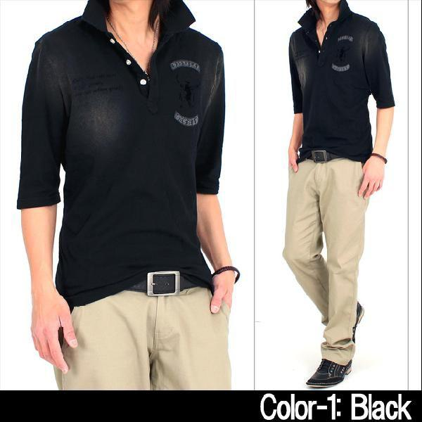 メンズポロシャツ ピグメント加工 5分袖 半袖 ミリタリー ダメージ|topism|05