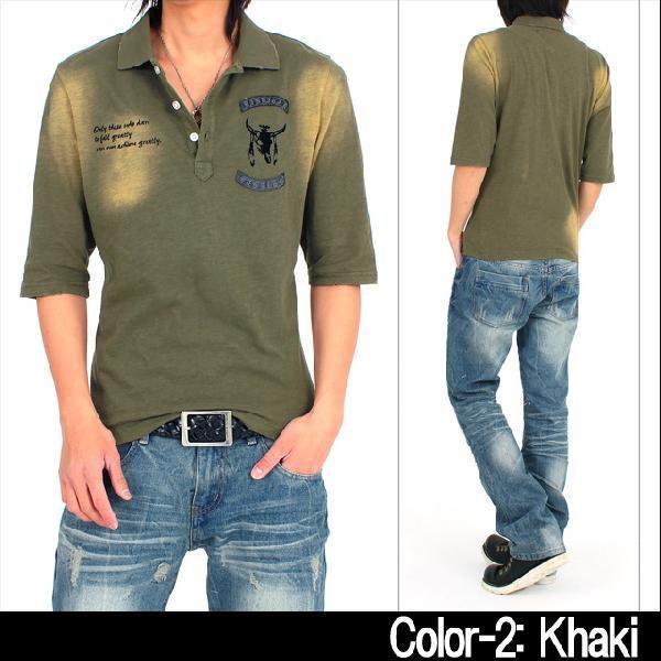 メンズポロシャツ ピグメント加工 5分袖 半袖 ミリタリー ダメージ|topism|06