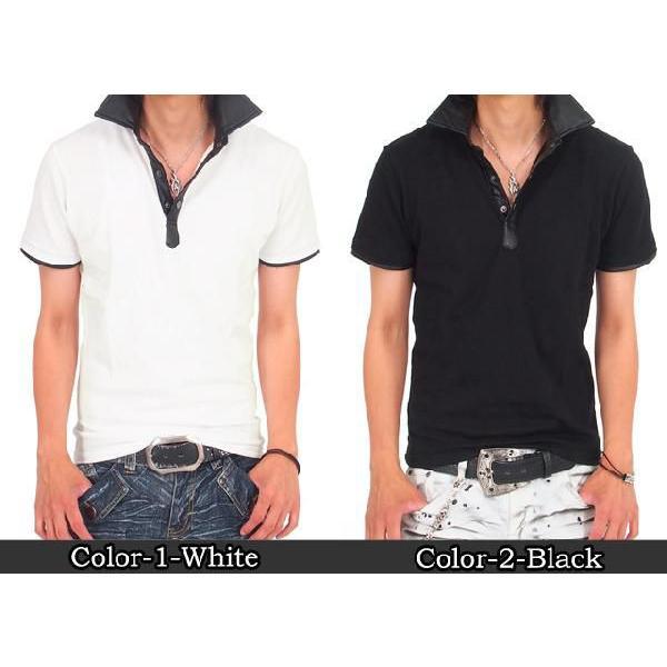 メンズポロシャツ フェイクレザー 無地 半袖 スキッパー ポロ メンズシャツ メンズファッション 通販 topism 02