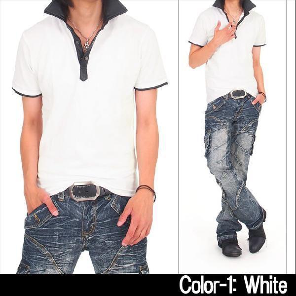メンズポロシャツ フェイクレザー 無地 半袖 スキッパー ポロ メンズシャツ メンズファッション 通販 topism 04