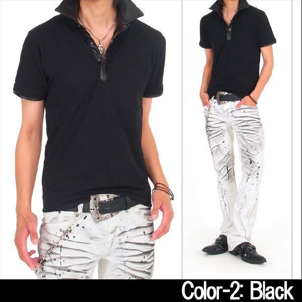 メンズポロシャツ フェイクレザー 無地 半袖 スキッパー ポロ メンズシャツ メンズファッション 通販 topism 05