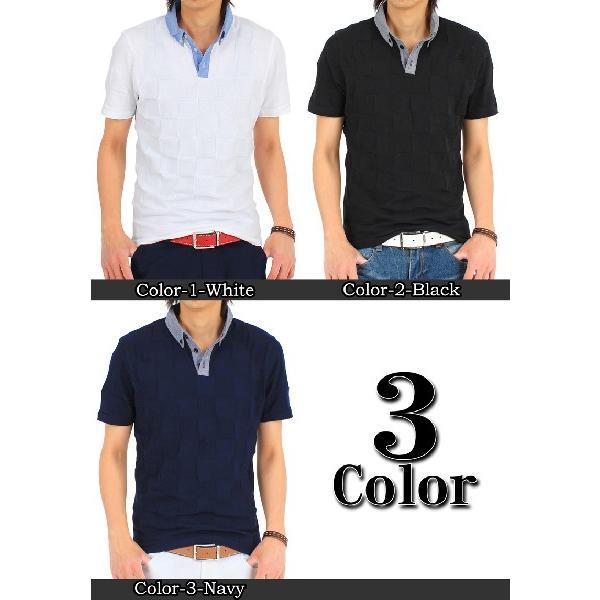 メンズポロシャツ 無地 半袖 ブロックチェック柄 ボタンダウン シャンブレー|topism|02