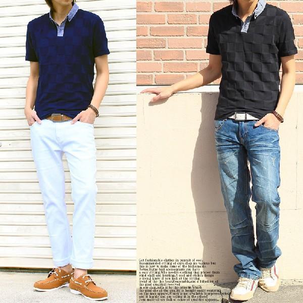 メンズポロシャツ 無地 半袖 ブロックチェック柄 ボタンダウン シャンブレー|topism|05