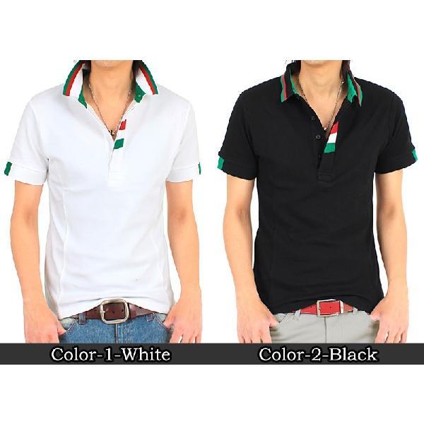 メンズポロシャツ イタリアライン ストレッチ 無地 半袖 スキッパー タイト|topism|02