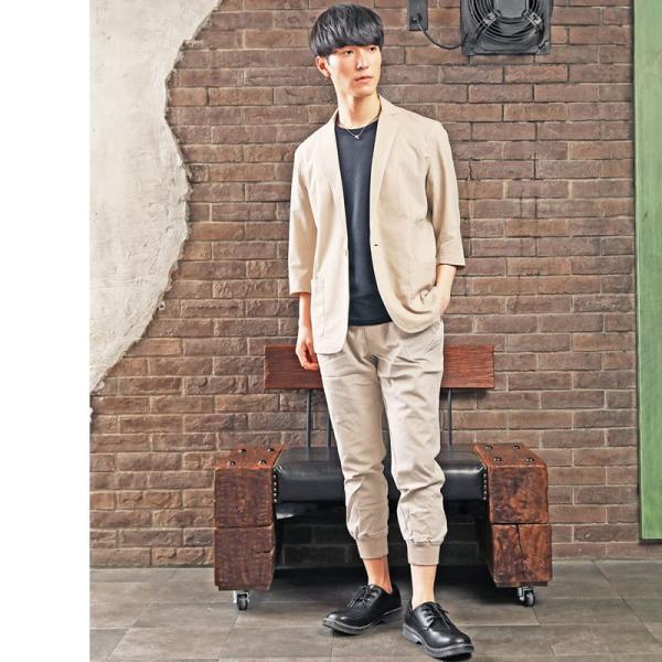 セットアップ メンズ 上下セット カジュアルスーツ テーラードジャケット ジョガーパンツ 7分袖 コットンリネン 綿麻 父の日|topism|08