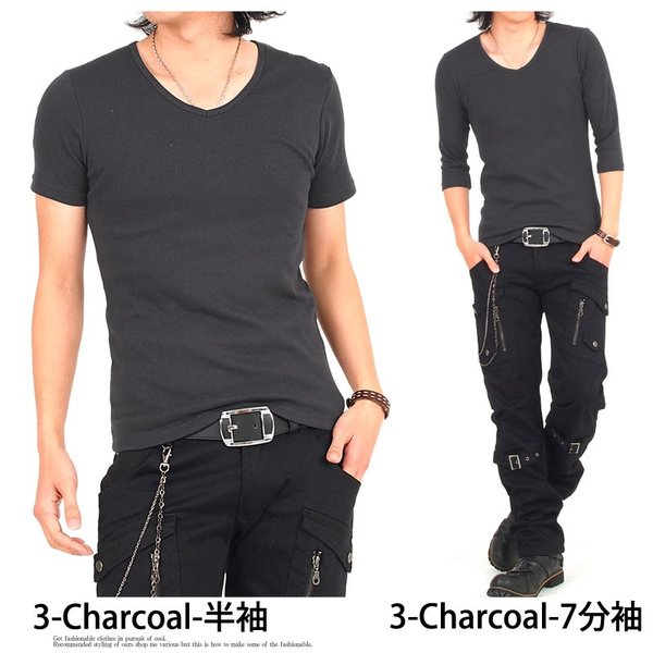 Tシャツ メンズ 半袖 7分袖 無地 カットソー Vネック トップス インナー ストレッチ フライス 七分袖 メンズファッション 脇汗対策シャツ|topism|11