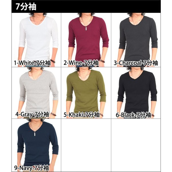 Tシャツ メンズ 半袖 7分袖 無地 カットソー Vネック トップス インナー ストレッチ フライス 七分袖 メンズファッション 脇汗対策シャツ|topism|19