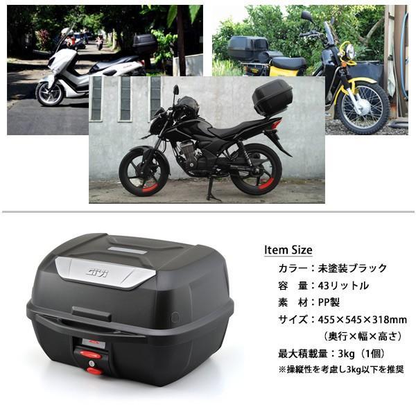 GIVI リアボックス トップケース モノロックケース 大容量 43L E43NTLD ベース付 カラー 未塗装ブラック 高品質 バイク用ボックス テールボックス ジビ|topsense|04
