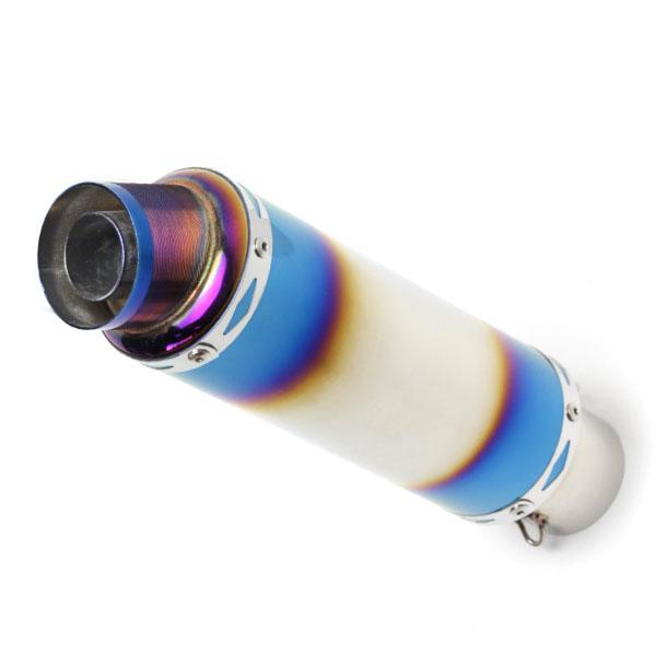 60.5mm マフラー スリップオン GP サイレンサー ステンレス製 チタン焼き色カラー カスタム パーツ Φ60.5 ショート ストレート 汎用|topsense