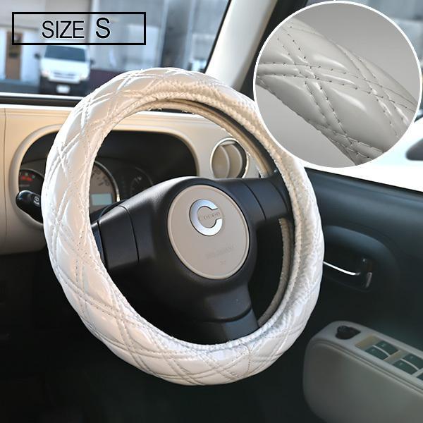 送料無料 ステアリングカバー ハンドルカバー Sサイズ 36cm ホワイト エナメル ダブルステッチ 内装 カスタムパーツ  ワゴンR ハスラー ヴィッツ ジムニー topsense