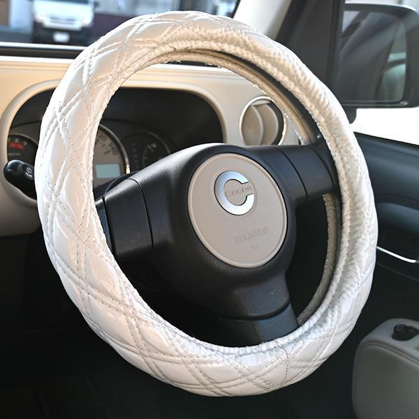 送料無料 ステアリングカバー ハンドルカバー Sサイズ 36cm ホワイト エナメル ダブルステッチ 内装 カスタムパーツ  ワゴンR ハスラー ヴィッツ ジムニー topsense 03