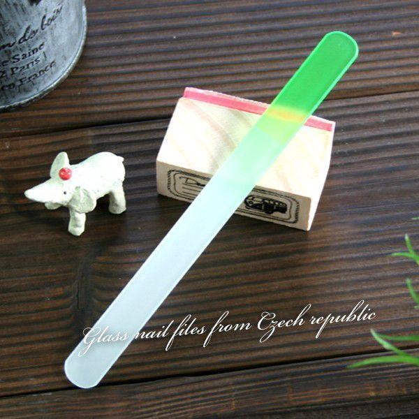 〜洗って何度でも使える〜 ガラスの爪やすり 【チェコ製】   カラーファイル(グリーン)|topstarjapan