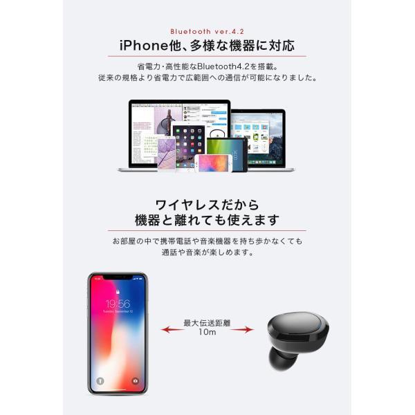 bluetooth イヤホン iPhone8 iPhone X iPhone10 iPhone7 カナル型 左右 独立型 両耳 完全ワイヤレスイヤホン  android スマホ ブルートゥース「takumu」 toptrend 09