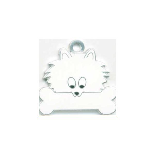ポメラニアン(白)  犬 迷子札  ドッグタグ 【名入れ】 トップワン  犬鑑札 IDプレート メール便 アクセサリー  携帯ストラップ topwan