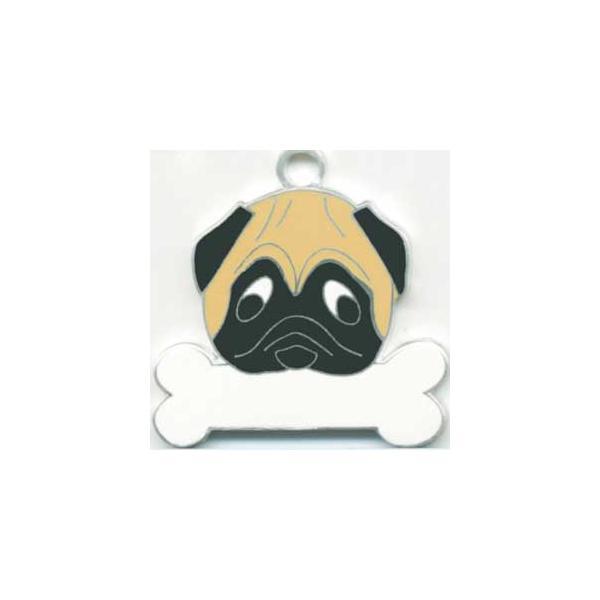 パグ(茶) 犬 迷子札  ドッグタグ 【名入れ】 トップワン  犬鑑札 IDプレート メール便 アクセサリー  携帯ストラップ|topwan
