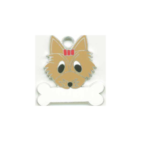 ヨークシャテリア(茶) 犬 迷子札  ドッグタグ 【名入れ】 トップワン  犬鑑札 IDプレート メール便 アクセサリー  携帯ストラップ|topwan