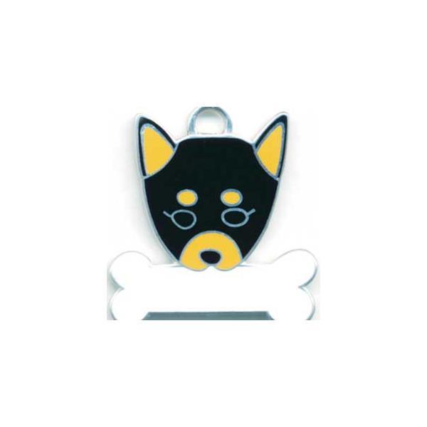 柴犬(黒) 犬 迷子札  ドッグタグ 【名入れ】 トップワン ペット 犬鑑札 IDプレート メール便 アクセサリー  携帯ストラップ|topwan