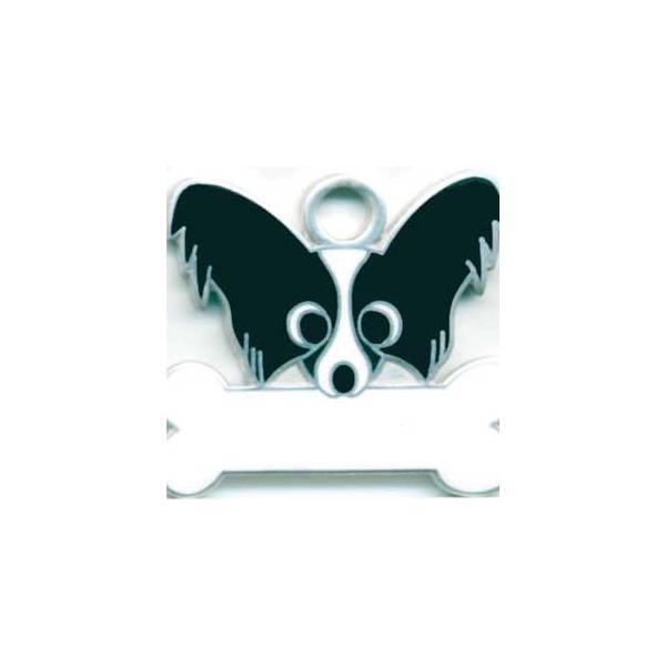パピヨン(黒) 犬 迷子札  ドッグタグ 【名入れ】 トップワン ペット 犬鑑札 IDプレート メール便 アクセサリー  携帯ストラップ|topwan