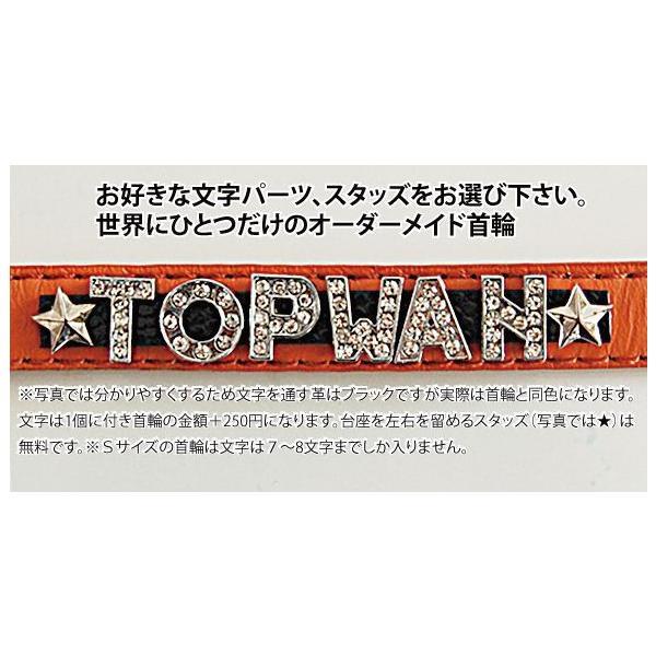 キラキライニシャルワイドスタッズ首輪  Mサイズ  革 ラインストーン オーダーメイド 名前 アルファベット トップワン 小型犬 |topwan|02