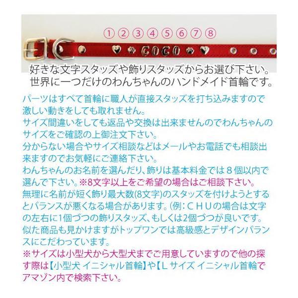 ダブルスタッズイニシャル首輪 (名前 オーダーメイド) Mサイズ 革 レザー 小型犬  中型犬 アルファベット  トップワン  ハウンド|topwan|05