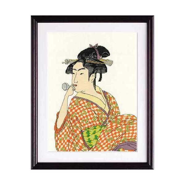 Olympusクロスステッチ刺繍キット 7185【ポペンを吹く女】 オリムパス