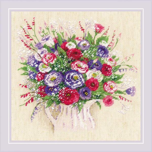 """RIOLISクロスステッチ刺繍キット No.1947 """"Bouquet with Eustoma and Gypsophila"""" (トルコギキョウとカスミソウのブーケ) 【海外取り寄せ/納期30〜60日程度】"""