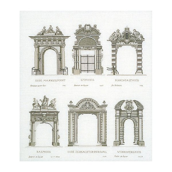 """Thea Gouverneur クロスステッチ刺繍キットNo.2053 """"Amsterdam Porches""""(アムステルダムのポーチ)  オランダ 【取り寄せ/納期40〜80日程度】"""