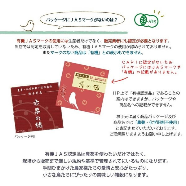 CAP! 鳥の餌 在庫処分市 有機JAS認定品 白粟の穂 100g 2018年産 熊本県産 ※緑ラベル※ torimura 06