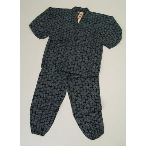 作務衣用 麻の葉藍 部屋寝間和装 メンズ 着物 メンズ浴衣 レディース 着物 浴衣|tosen|02