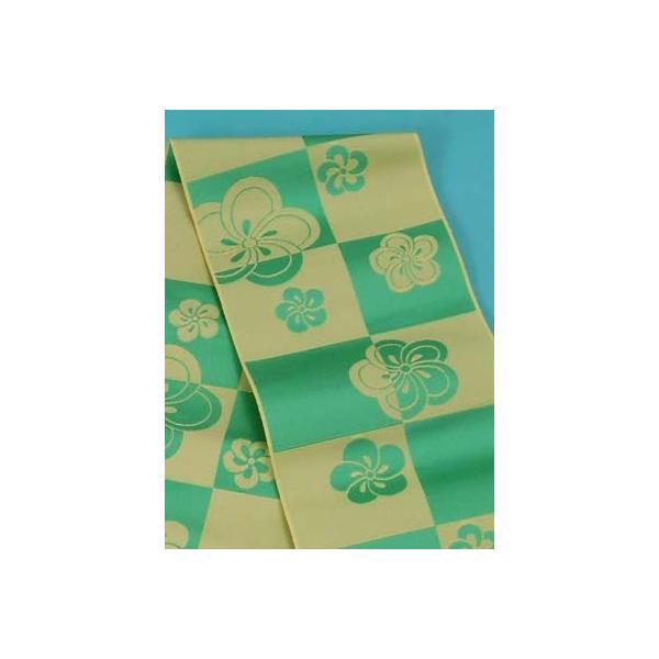 浴衣帯 博多織ゆかた帯 (市松にねじり梅 緑×薄黄緑)正絹本場筑前博多織 四寸三分単帯