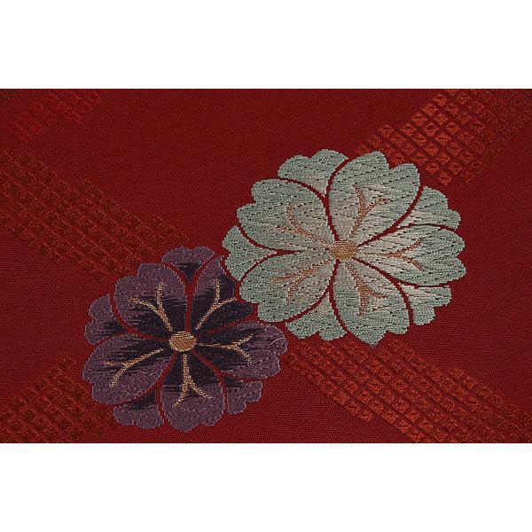 訳あり 正絹袋帯 赤×金×緑×紫 カジュアル おしゃれ用 普段着用 お仕立代サービス 実店舗キャリー在庫