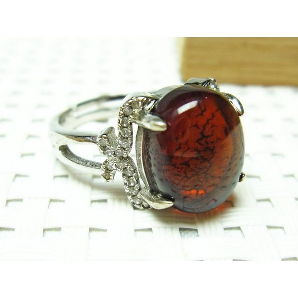 レッドアンバー 赤琥珀 指輪 リング フリーサイズ メール便可 [M便 1/20] 115-427