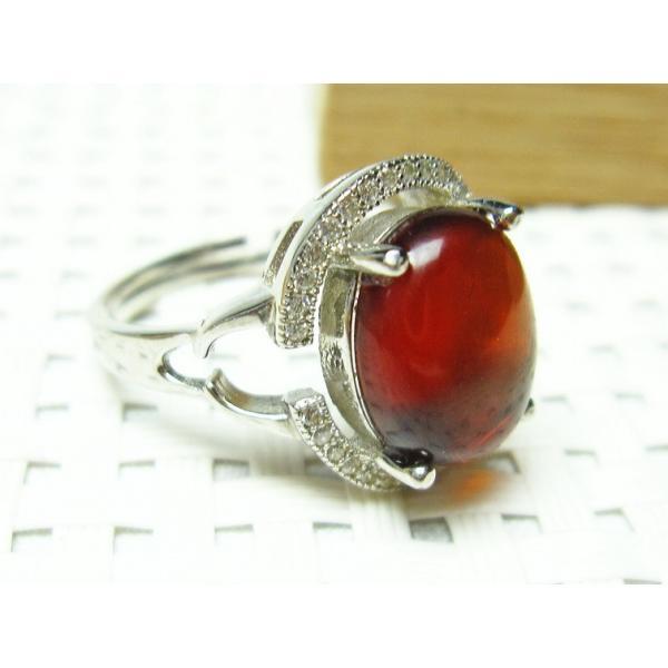 レッドアンバー 赤琥珀 指輪 リング フリーサイズ メール便可 [M便 1/20] 115-438
