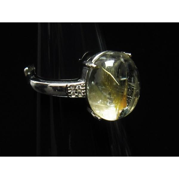 ゴールド タイチンルチルクォーツ 指輪 リング フリーサイズ [送料無料] 115-735