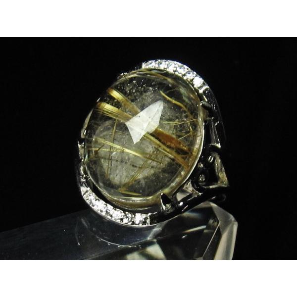 ゴールド タイチンルチルクォーツ 指輪 リング フリーサイズ [送料無料] 115-747