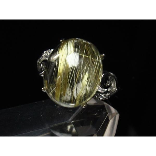 ゴールド タイチンルチルクォーツ 指輪 リング フリーサイズ [送料無料] 115-753