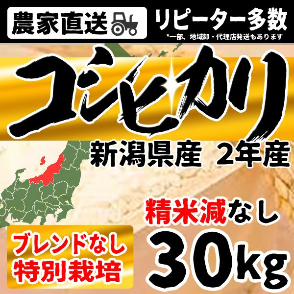 お米 30kg 白米 送料無料 10kg×3袋 コシヒカリ お米 新潟県産 令和2年産 特別栽培 沖縄・離島配送不可 出荷表要確認