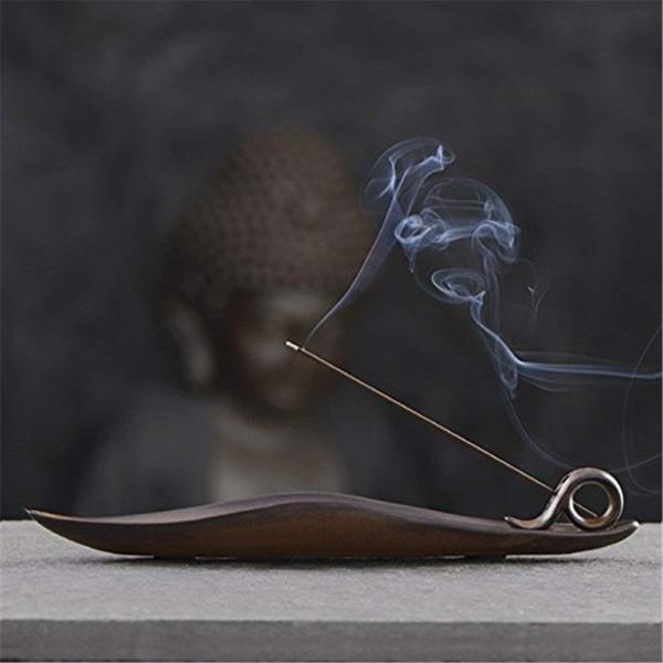gannbarou お 線香 お香立て 葉の形 おしゃれ 線香 香炉 陶器 インテリア仏壇用品 茶道用品 手作り|totasu888|03