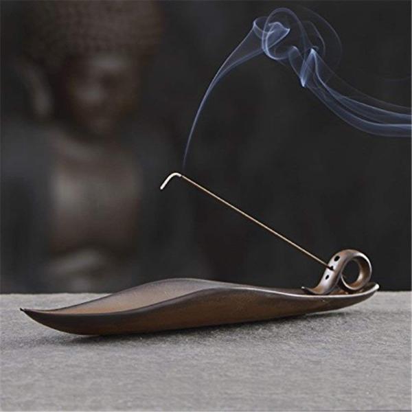 gannbarou お 線香 お香立て 葉の形 おしゃれ 線香 香炉 陶器 インテリア仏壇用品 茶道用品 手作り|totasu888|07