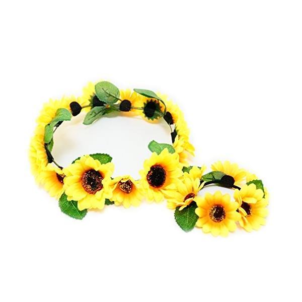 花かんむり 花冠 ひまわり 花かんむり リストレット 2点セット ヘッドドレス 黄色 コサージュ ウエディング 花冠 fhkan026yw2