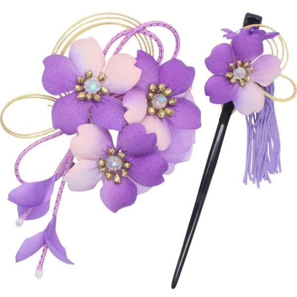 鎌倉工芸 カマクラクラフト 和装 髪飾り 2点セット | さくら 花 髪飾り ヘアクリップ 1つ ・ かんざし 1本 | 藤色(むらさき)